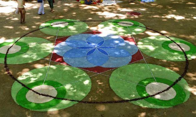 Art efímer. Ralització d'un mandala gran amb elements de la natura
