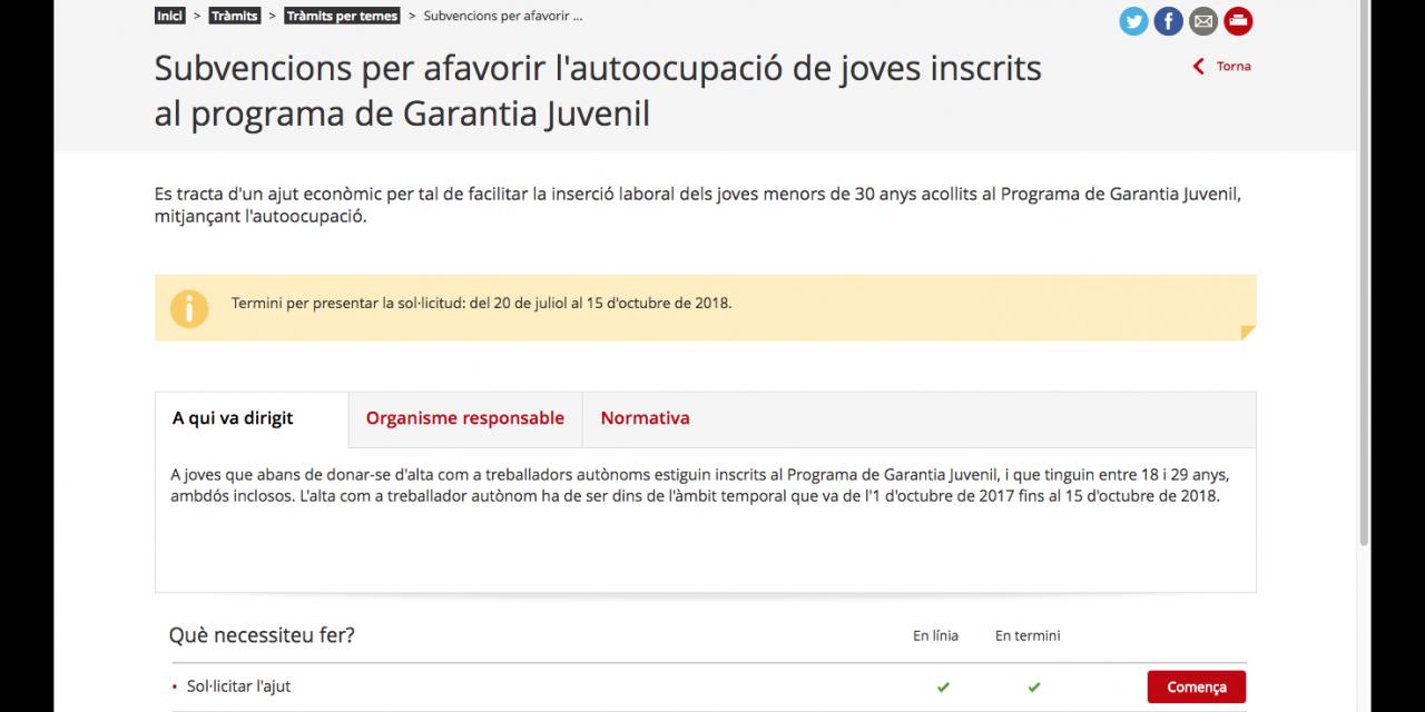 Ajut fins a 9.900€ per fer-se autònom/a per joves inscrits a Garantia Juvenil