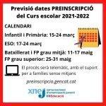 Calendari de preinscripció escolar curs 2021-2022