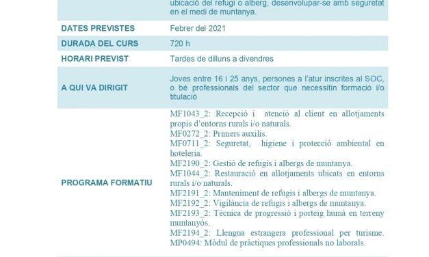 Certificat de professionalitat guarda de refugis i albergs de muntanya