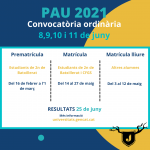 Convocatòria proves PAU i PAP 2021