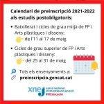 Preinscrpcions 2021-2022 als estudis postobligatoris